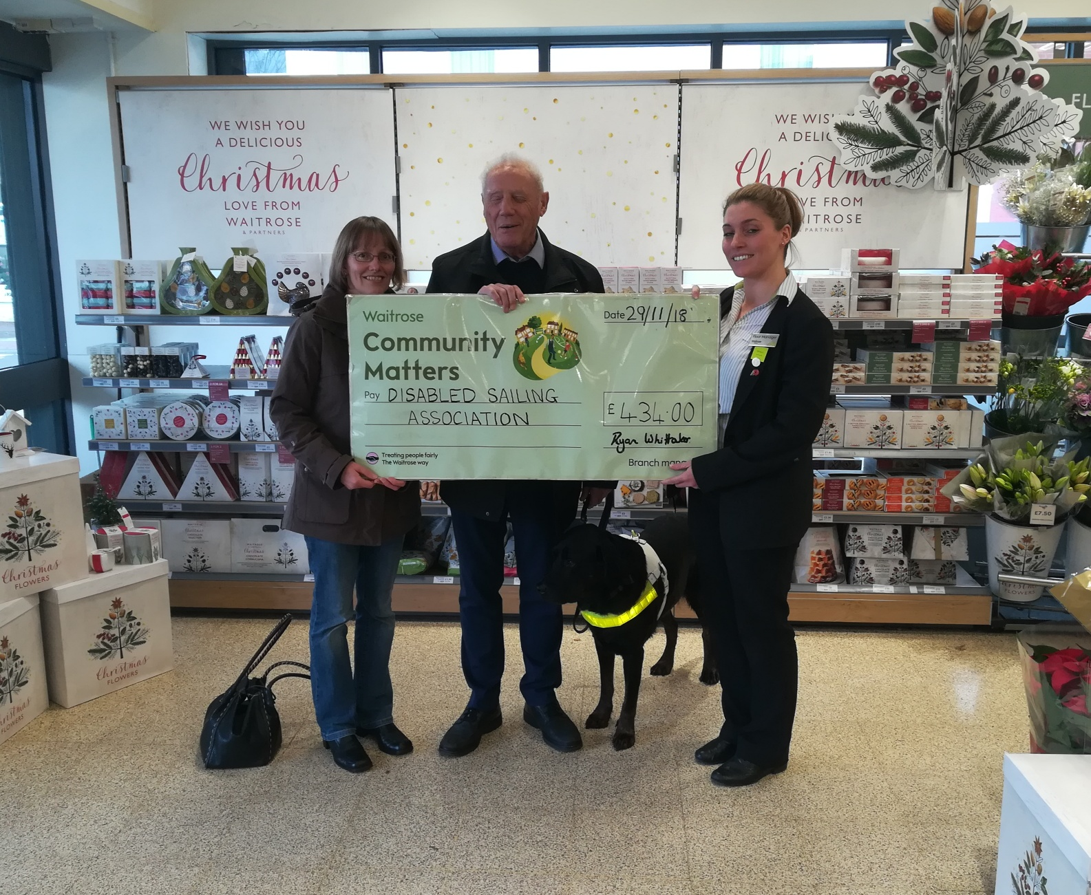 David receiving a waitrose cheque